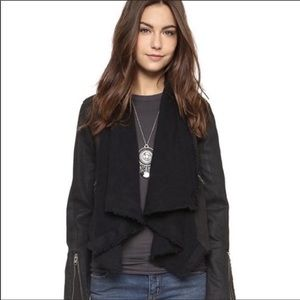 Free People Faux Leather Zip Scarf Jacket NEW
